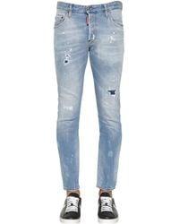 Jeans Skater In Denim Con Patch 16cm di DSquared² in Blue da Uomo