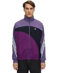 メンズ Adidas Originals ナイロンウィンドブレーカージャケット Purple
