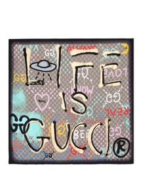 Gucci Natural Ghost Life Is Print Silk Scarf