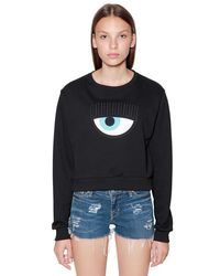 Chiara Ferragni Black Sweatshirt Aus Baumwolle Mit Patch