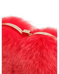 Les Petits Joueurs Red Fox Fur Heart Shoulder Bag