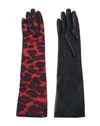 Lanvin Red Shiny Leopard Jacquard Gloves