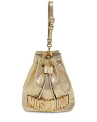 Moschino Metallic Beuteltasche Aus Leder