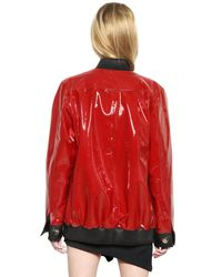 Anthony Vaccarello Red Nappa & Patent Leather Jacket
