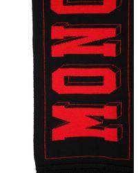 メンズ Moncler ロゴ ウールジャガードスカーフ Red
