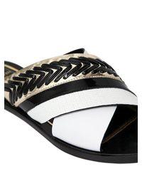 Lanvin Black 10mm Crisscross Leather Slide Sandals