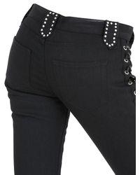 Saint Laurent Black Lace-up Denim & Leather Jeans