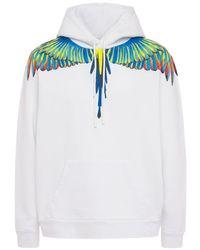 メンズ Marcelo Burlon Birds Wings コットンジャージーフーディー Blue