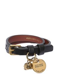 Alexander McQueen - Black Studded Leather Bracelet W/ Charm for Men - Lyst