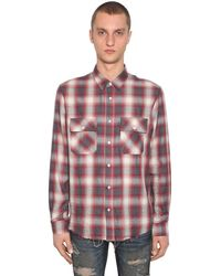 Camisa De Franela De Algodón Con Parche De Piel Amiri de hombre de color Multicolor