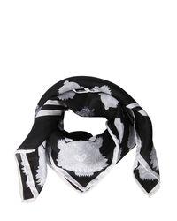 KENZO Black Tiger Print Cotton & Silk Square Scarf
