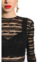 Dolce & Gabbana - Black See-through Stripes Lace Stretch Dress - Lyst