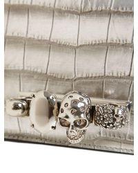 Alexander McQueen Metallic Verzierte Umhängetasche mit Kroko-Effekt