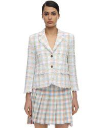 Thom Browne Multicolor Check Raw Cut Tweed Jacket