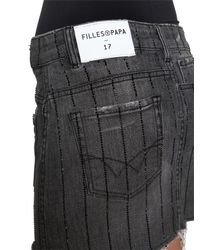 Filles A Papa - Gray Twisted Crystal Stripes Denim Mini Skirt - Lyst