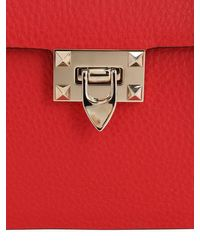 Valentino Garavani Rockstud グレインレザートップハンドルバッグ Red