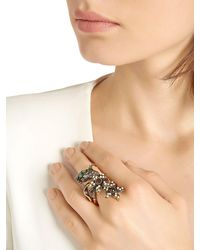 Alcozer & J - Metallic Flora Pearl, Emerald & Crystal Ring - Lyst