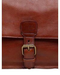 Officine Creative Brown Brushed Leather Messenger Bag for men
