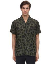 メンズ Lardini Floral リネンボウリングシャツ Green