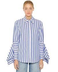 Vivetta Blue Hemd Aus Baumwollpopeline Mit Streifen