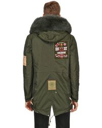 Mr & Mrs Italy Green Hooded Patched Nylon Parka W/ Fox Fur for men