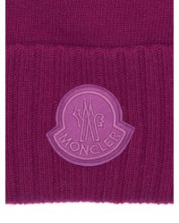 Moncler ロゴ ウールトリコットニット帽 Purple