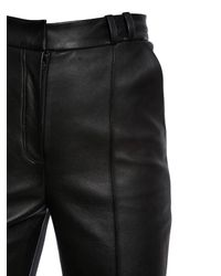 David Koma Black Flared Leather & Cady Stretch