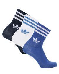 Adidas Originals コットンブレンドクルーソックス 3足組 Blue
