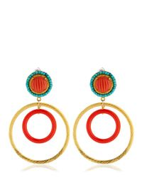 Katerina Psoma - Red Nuwa Gold & Glass Circle Earrings - Lyst