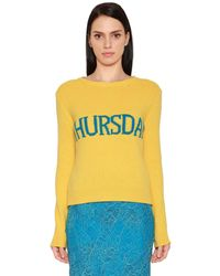 Alberta Ferretti Yellow Thursday Wool & Cashmere Knit Sweater