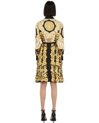 Versace Yellow Hemdkleid Aus Seidentwill Mit Druck
