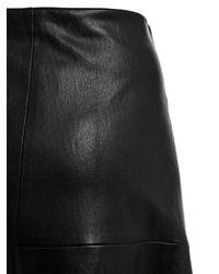 Rosetta Getty Black Flared Stretch Leather Midi Skirt