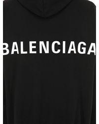 Balenciaga Kapuzensweatshirt Aus Baumwolle Mit Logo in Black für Herren
