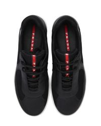 Prada Black America's Cup Leather & Mesh Sneakers for men