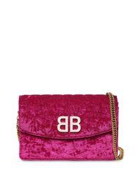 Balenciaga Bb キルトベルベット ショルダーバッグ Purple