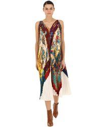 Ferragamo シルクツイル プリーツドレス Multicolor