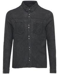 メンズ Giorgio Brato ブラッシュドレザーボタンシャツ Black