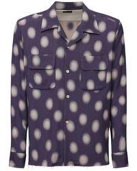 メンズ Needles コットンブレンドジャカードシャツ Purple