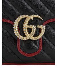 Gucci Gg Marmont Torchon ミニレザーバッグ Black