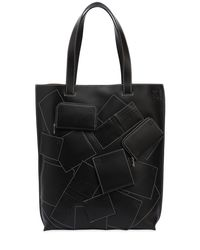 Loewe Black Wallet Patches Leather Tote Bag