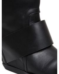 Rick Owens Black 70mm Leather Band Wedged Knee High Boots