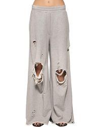 Alexander Wang - Gray Destroyed Wide Leg Cotton Sweatpants - Lyst