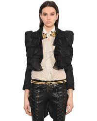 Redemption Black Ruffled Cotton Short Jacket