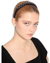 Serre-tête en cuir verni avec clous RED Valentino en coloris Black