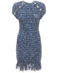 Balmain ビスコースブレンドフリンジミニドレス Blue