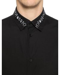McQ Alexander McQueen - Black Embroidered Collar Cotton Poplin Shirt for Men - Lyst