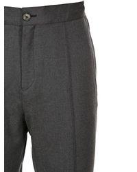 Z Zegna Gray Wool Flannel Pants for men
