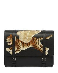 Gucci Black Tiger Embroidered Leather Briefcase