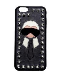 """""""Coque Iphone 6 """"""""karl"""""""" En Cuir Détail En Vison"""" Fendi en coloris Black"""