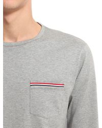 Thom Browne Gray Cotton Jersey Long Sleeve T-shirt for men